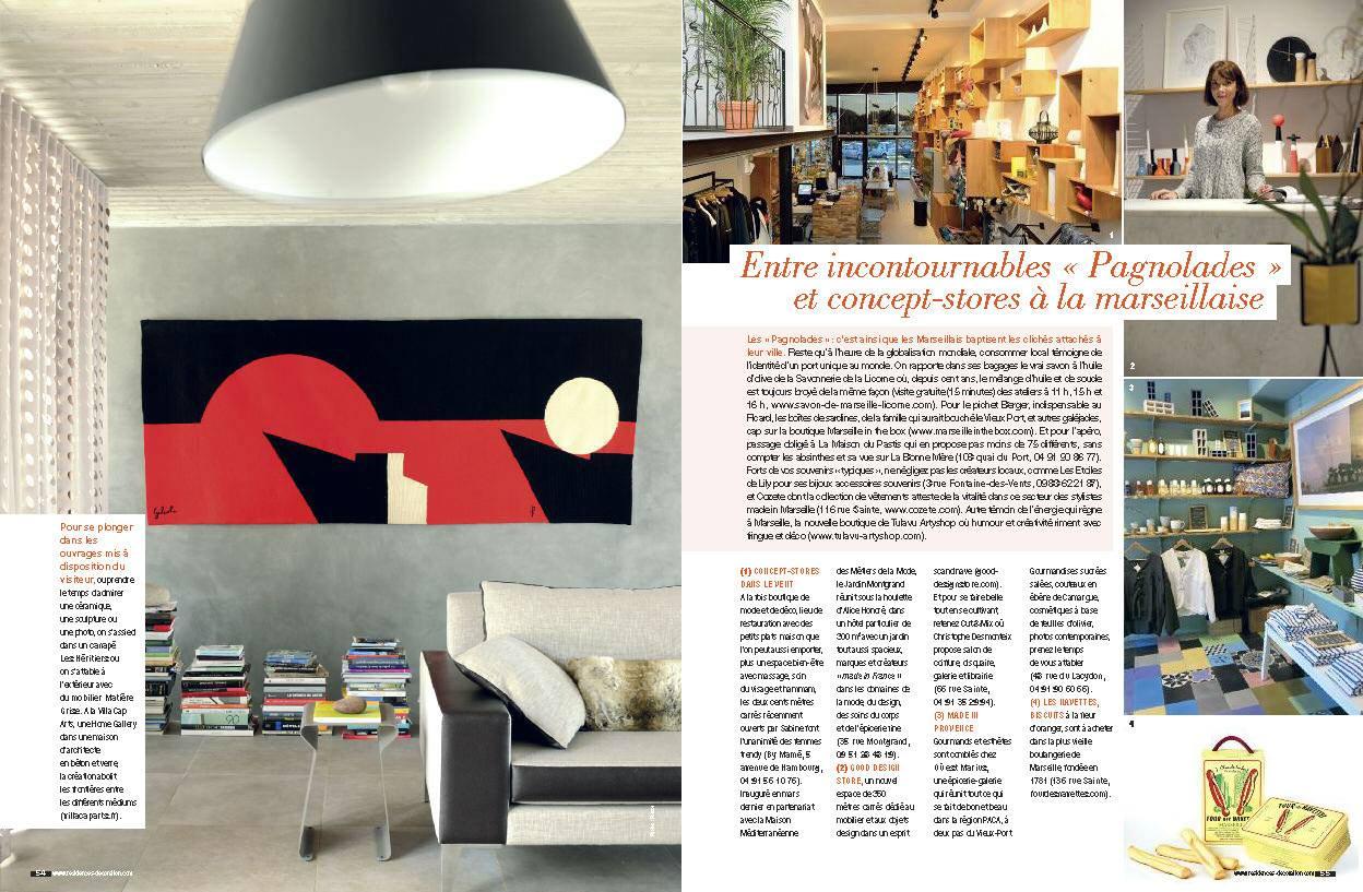 Villa Cap Arts rubrique City Guide spécial Marseille du magazine Résidences Décoration Avril - Mai 20151